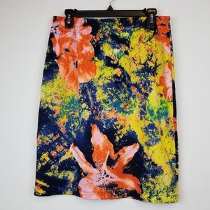 Betsey Johnson bright floral pencil skirt size L
